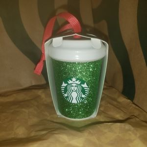 Starbucks Green Glitter coffee cup ornament